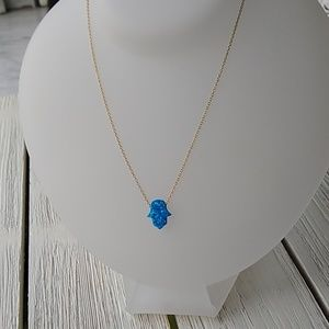 Blue Opal HAMSA/yellow gold chain/ NECKLACE